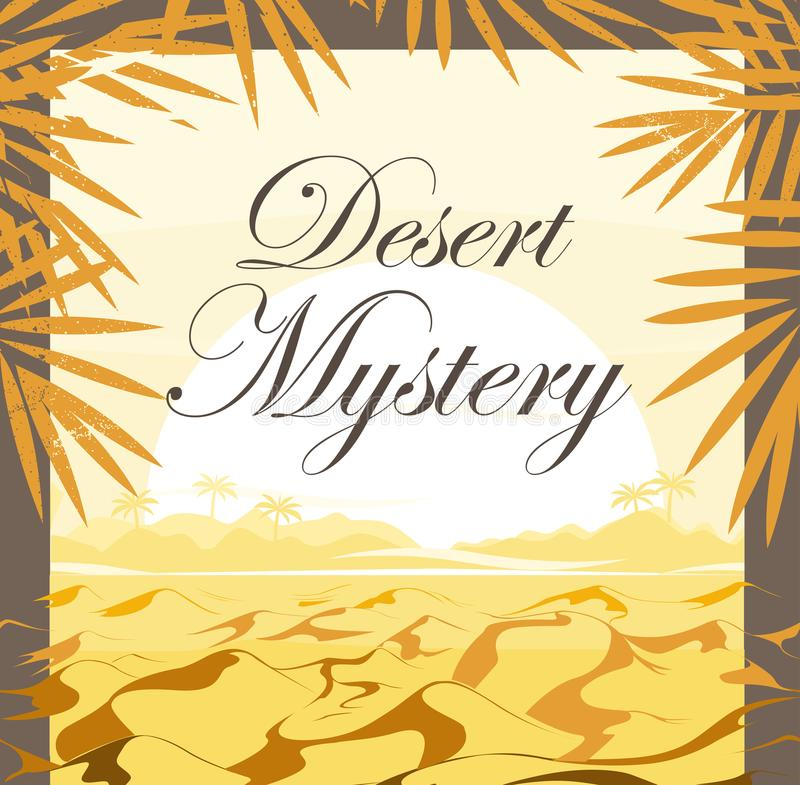 Woestijnzonsondergang met palmbladen De achtergrond van het frame stock illustratie