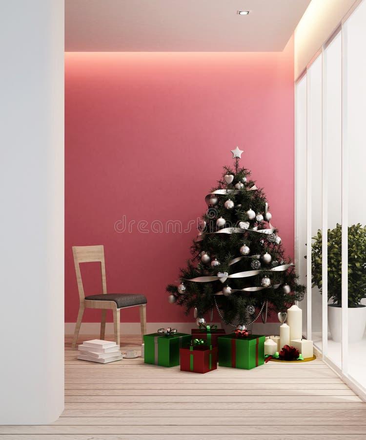 Wohnbereich und Weihnachtsbaum in der Wohnung oder in der haus- Innenarchitektur - Wiedergabe 3D stockfotos