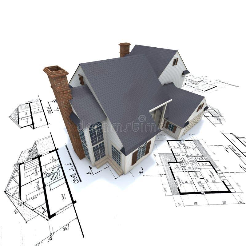 Wohnhaus auf Plänen lizenzfreie abbildung