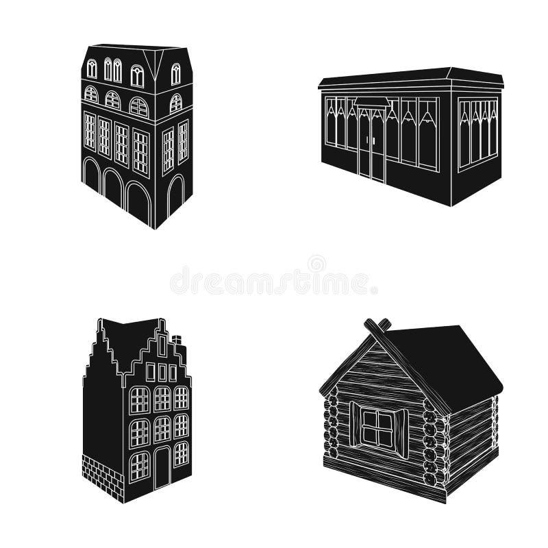 Wohnhaus in der englischen Art, ein Häuschen mit Buntglasfenstern, ein Cafégebäude, eine hölzerne Hütte architektonisch stock abbildung