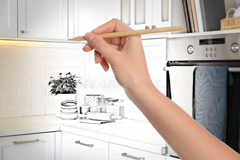 Wohnkücheninnenraum Kombination von Foto und Zeichnung stockfotografie