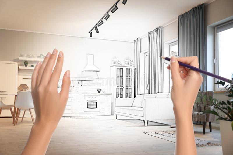 Wohnkücheninnenraum Kombination von Foto und Zeichnung stockfoto