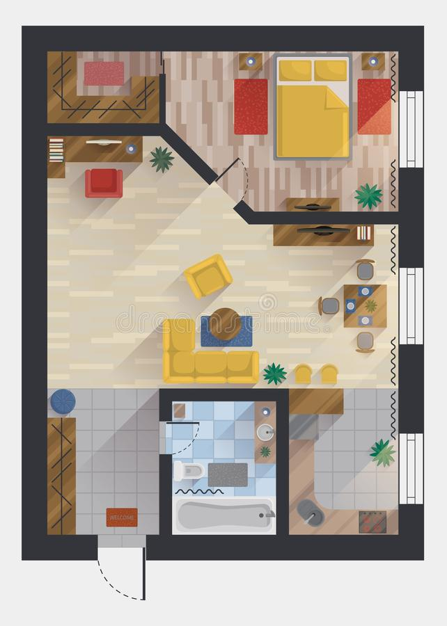Wohnung oder flaches, Haus, Draufsicht des Grundrisses vektor abbildung