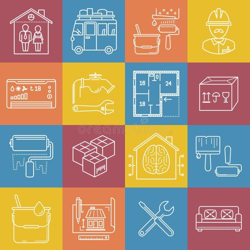 Wohnung und Bewegung lineart minimales Vektor iconset auf karierter Mehrfarbenbeschaffenheit lizenzfreie abbildung