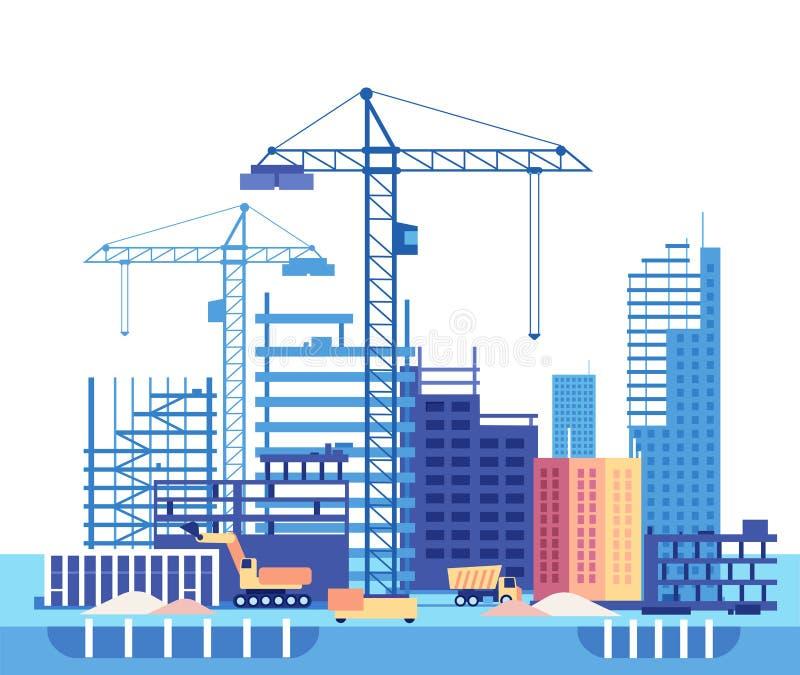 Wohnunghaus des Gebäudes house Arbeitsprozess des Hochbaus und der Maschinerie Flaches Vektorkonzept vektor abbildung