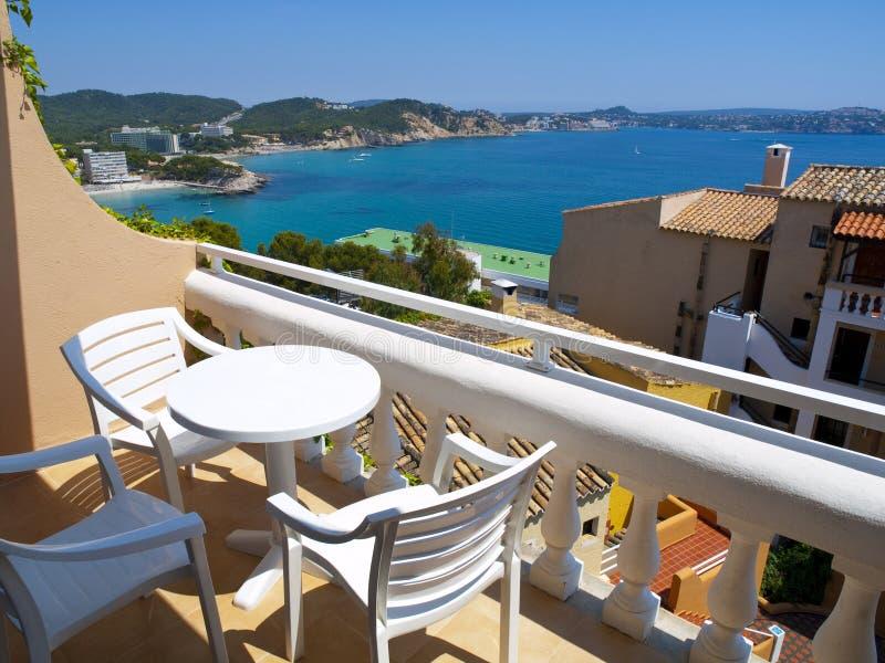 Wohnungs-Balkon in Mallorca, Spanien stockfotos