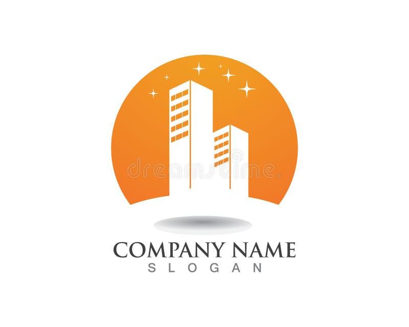 Wohnungs-Eigentum und Bau-Logodesign vektor abbildung