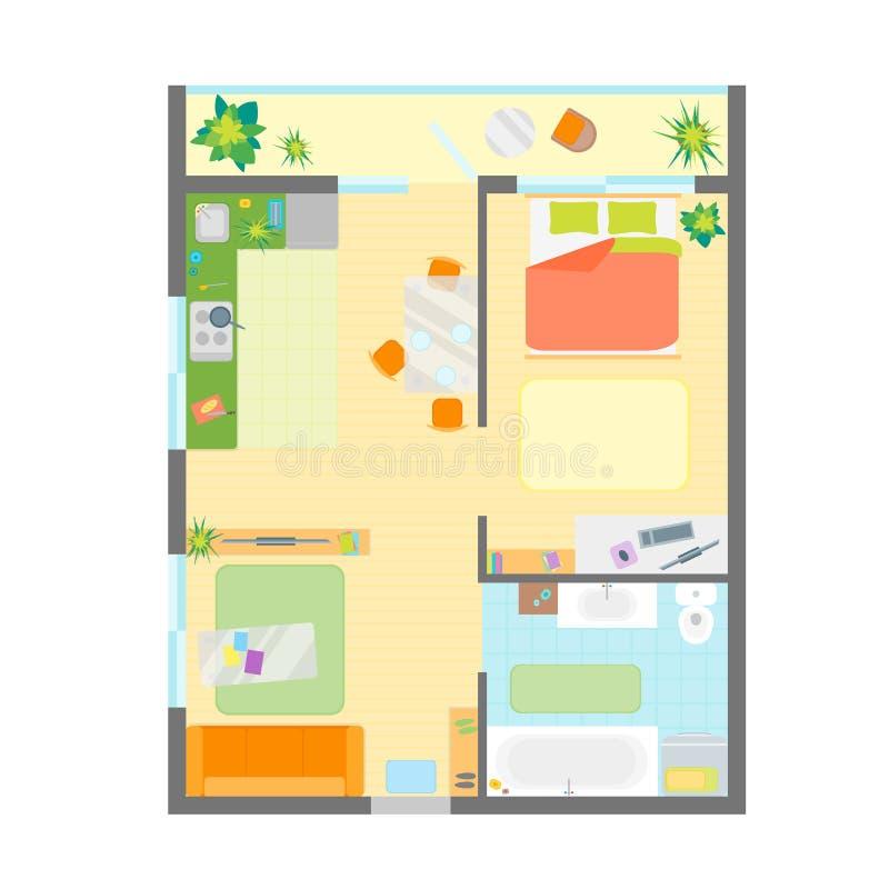 wohnungs grundriss mit m bel draufsicht vektor vektor. Black Bedroom Furniture Sets. Home Design Ideas
