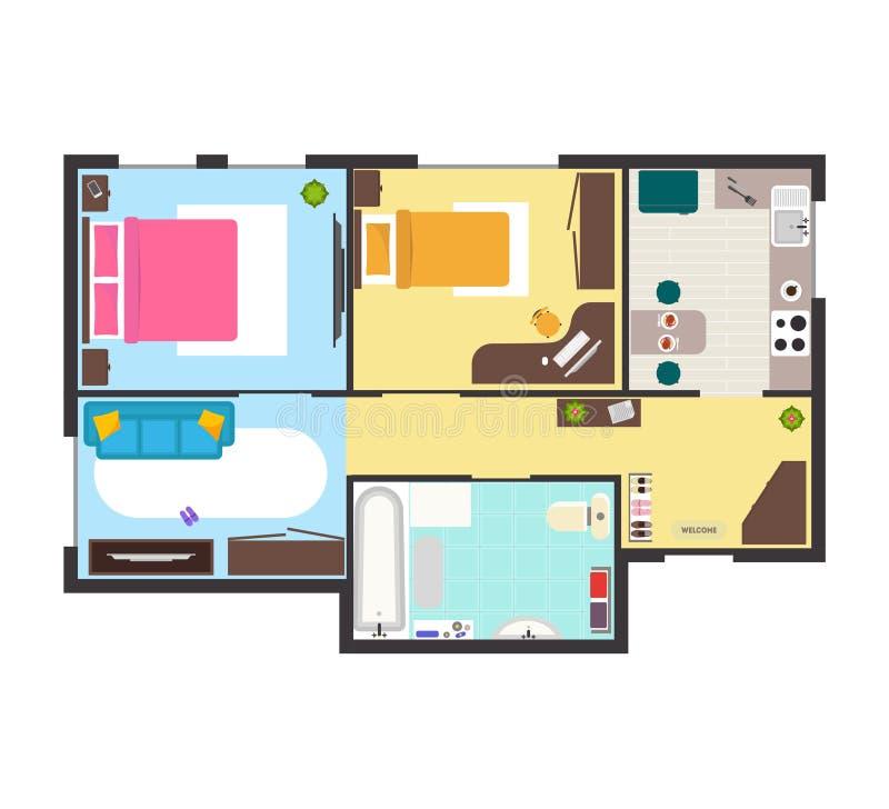 wohnungs grundriss mit m bel draufsicht vektor vektor abbildung illustration von zustand. Black Bedroom Furniture Sets. Home Design Ideas