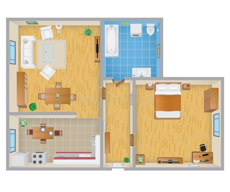 Wohnungsplan  Wohnungs-Plan Vektor Abbildung - Bild: 44467184