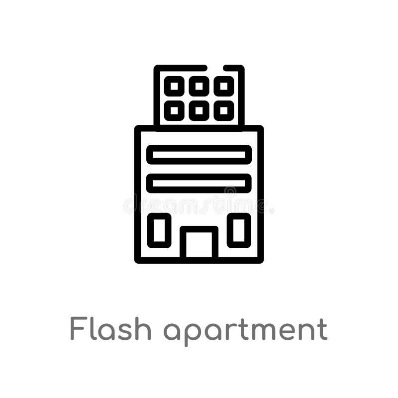 Wohnungs-Vektorikone des Entwurfs grelle lokalisiertes schwarzes einfaches Linienelementillustration vom Gebäudekonzept Editable  lizenzfreie abbildung