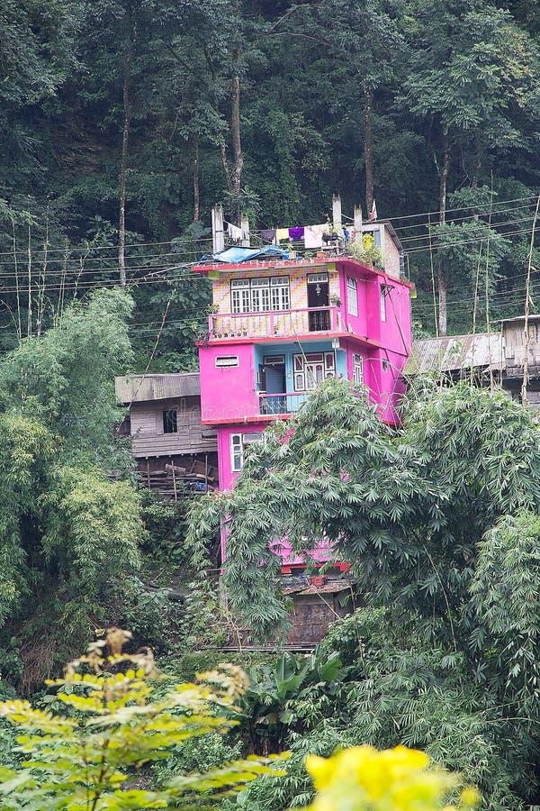 Wohnungsbau an Legship-Dorf, West-Sikkim, Indien stockfoto