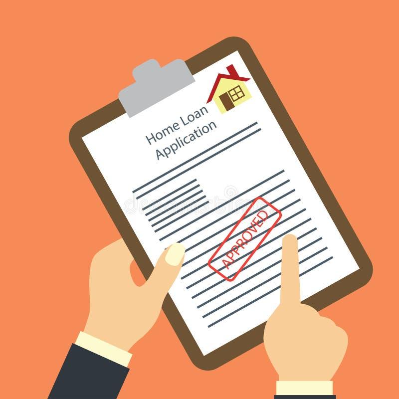 Wohnungsbaudarlehenform genehmigte für Kreditvorlagekonzept vektor abbildung