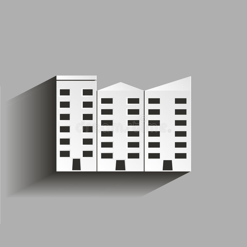 Wohnungsvektor lokalisiert Ofice-Gebäude Illustration mit SH vektor abbildung
