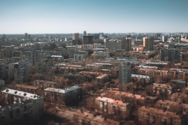 Wohnviertel von stumpfen Häusern, tiltshift Ansicht lizenzfreies stockfoto