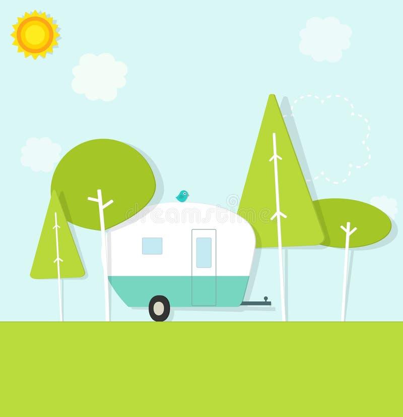 Wohnwagen im Wald lizenzfreie abbildung