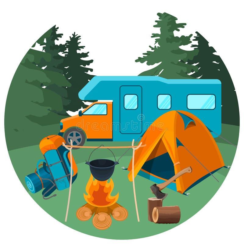 Wohnwagen im Wald mit Picknickausrüstung Zubehör für kampierenden Rest stock abbildung