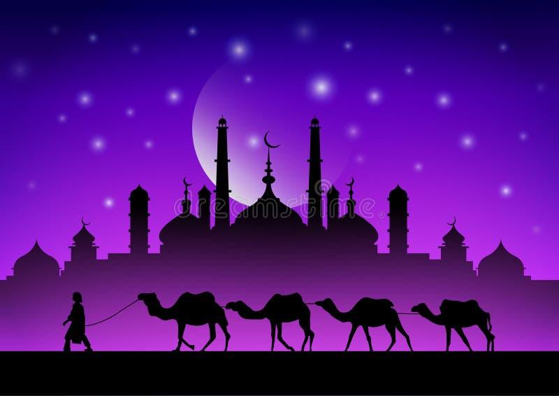 Wohnwagen von Kamelen in der Wüste nahe der Moschee unter dem Mond lizenzfreie abbildung