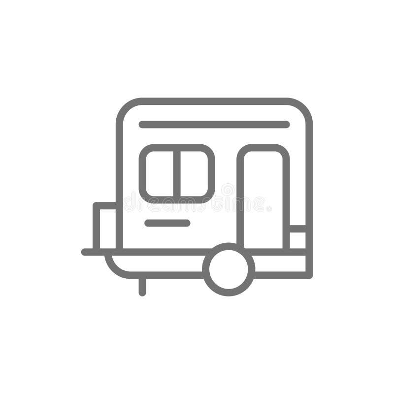 Wohnwagenanhänger, Wohnwagen, Camperlinie Ikone stock abbildung