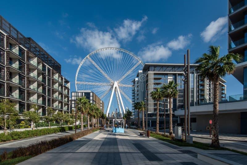 Wohnwohnungen auf dem Bluewaters Insel-und Dubai-Auge lizenzfreies stockfoto