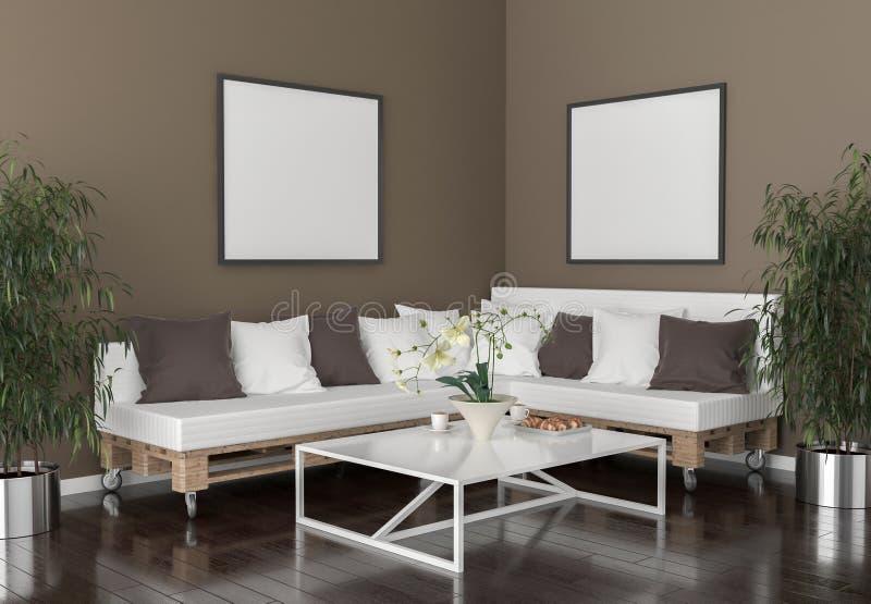 Wohnzimmer - auf der Wand leere Bilderrahmen vektor abbildung