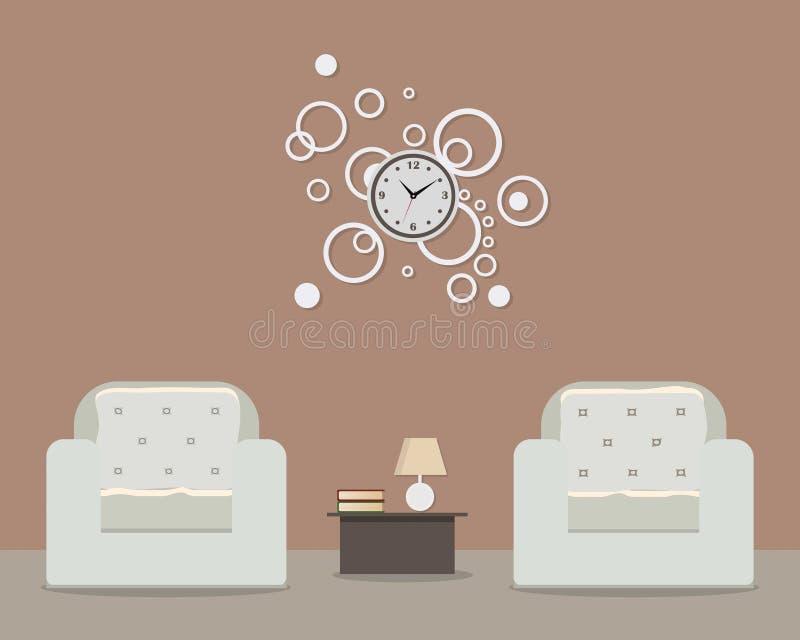 Wohnzimmer in der Kaffeefarbe stock abbildung