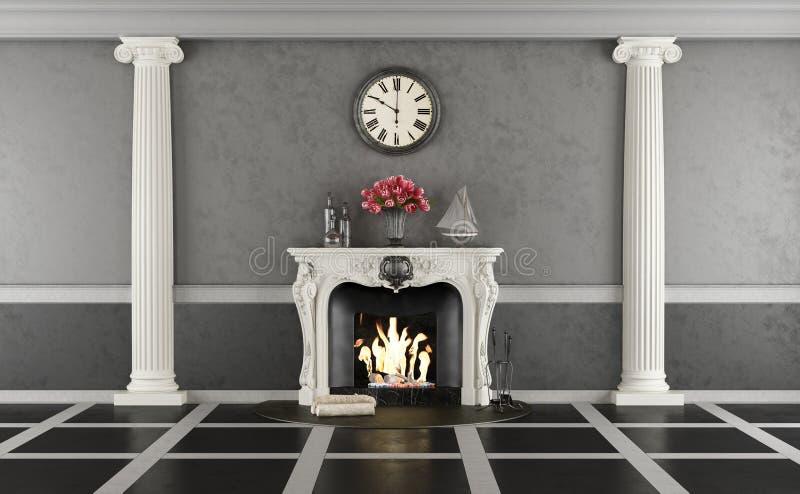Wohnzimmer in der klassischen Art mit Kamin lizenzfreie abbildung