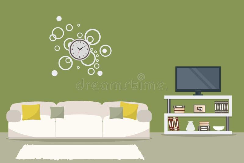Wohnzimmer in der olivgrünen Farbe mit einem weißen Sofa lizenzfreie abbildung