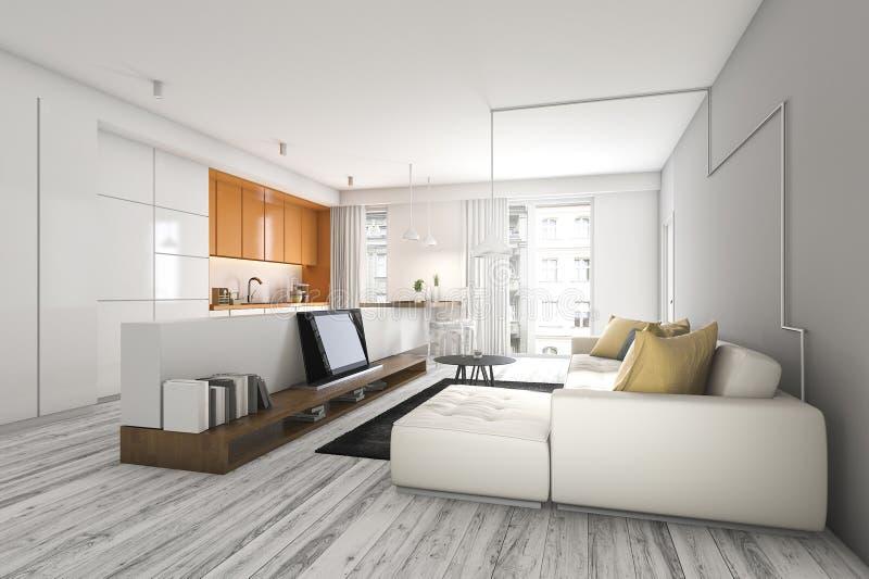 Küchenstange wohnzimmer der wiedergabe 3d mit sofa und fernsehen nahe