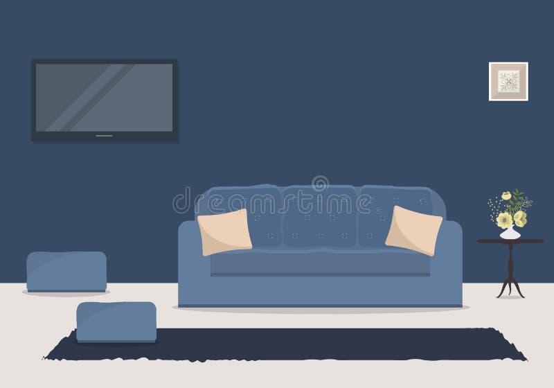 Wohnzimmer in einer blauen Farbe mit einem Sofa und einem Heimkino lizenzfreie abbildung