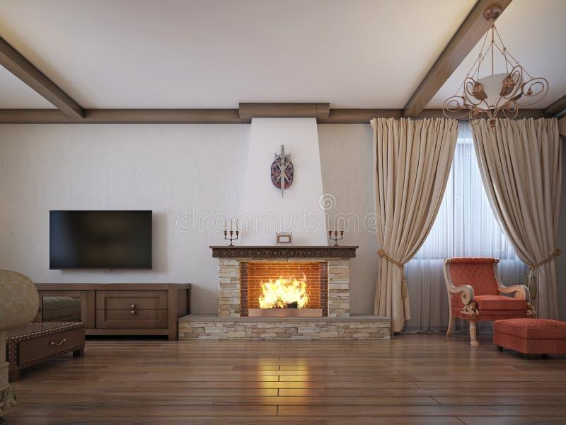 Wohnzimmer in einer rustikalen Art mit weichen Möbeln und einem großen Kamin mit klassischen Elementen stock abbildung