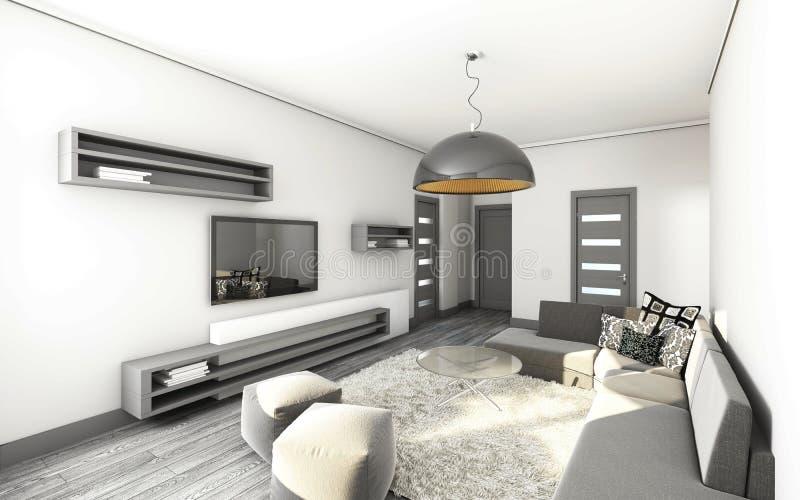 Wohnzimmer Im Grau Stockfotografie