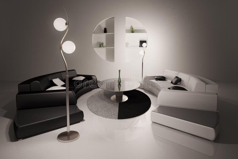 Wohnzimmer Innen3d übertragen lizenzfreie abbildung