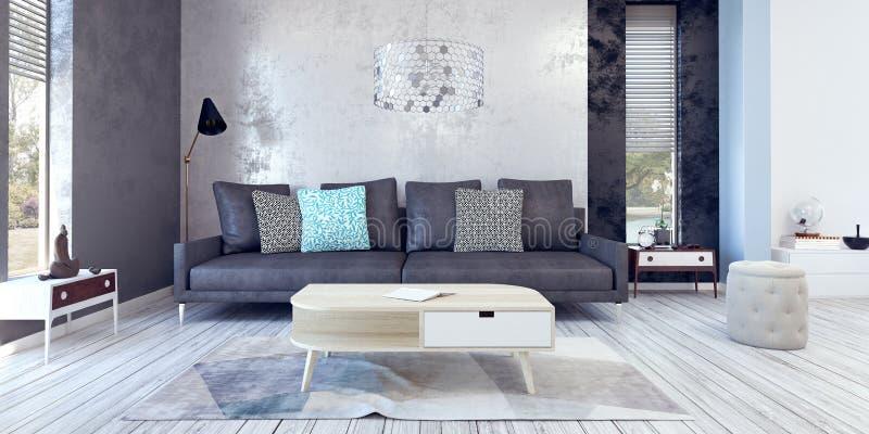 Wohnzimmer, Innenarchitektur lizenzfreie abbildung