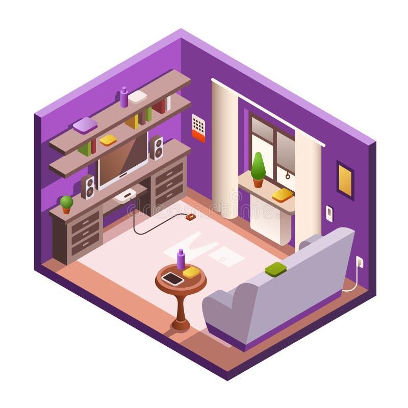 Wohnzimmer-Innenraumhintergrund des Vektors isometrischer stock abbildung