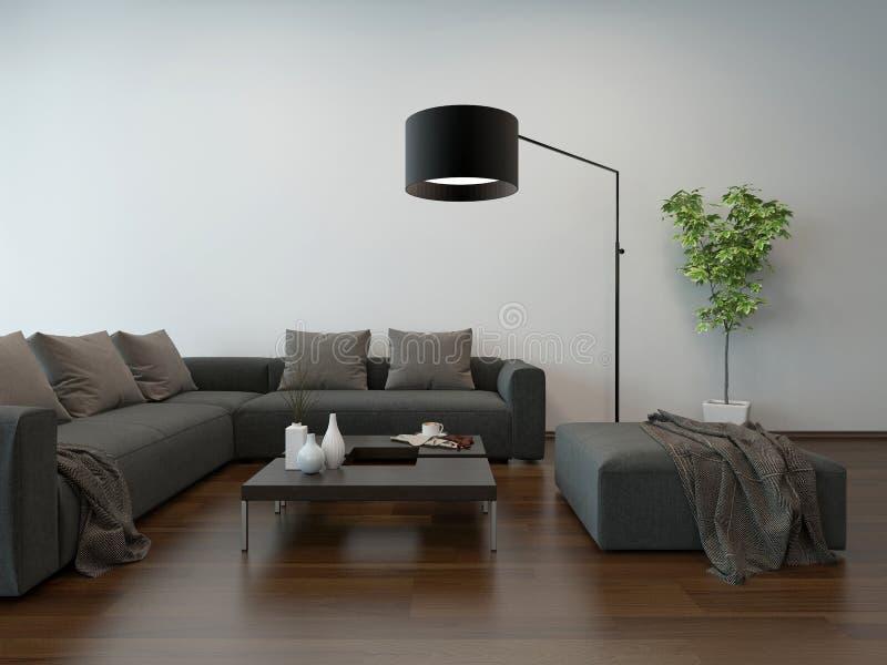 wohnzimmer innenw graue couch und stehlampe stock abbildung illustration von houseplant. Black Bedroom Furniture Sets. Home Design Ideas
