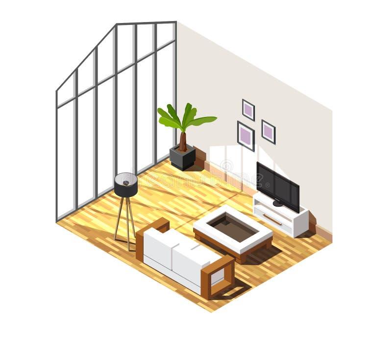 Wohnzimmer-isometrische Innenzusammensetzung lizenzfreie abbildung