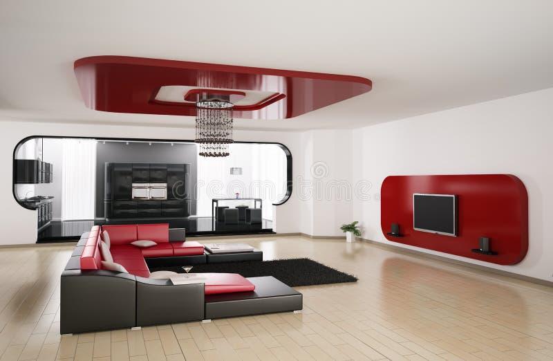 Wohnzimmer, Küche 3d übertragen stock abbildung