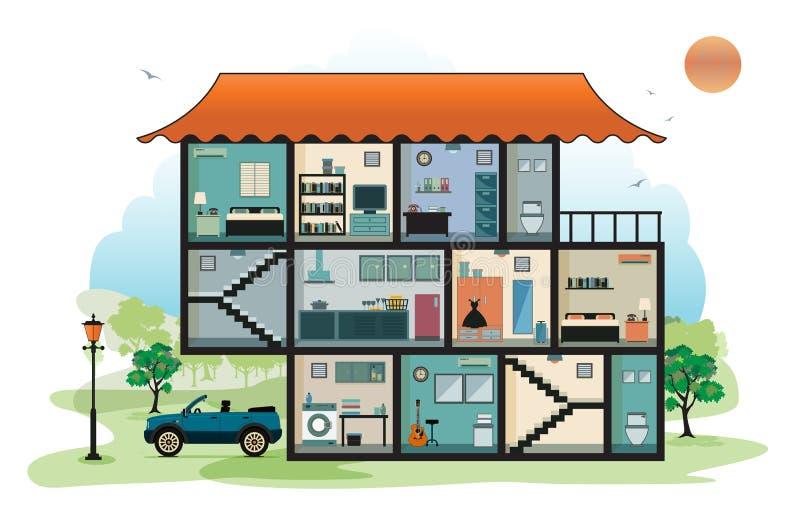 Wohnzimmer konzipiert in der Retro- Art lizenzfreie abbildung