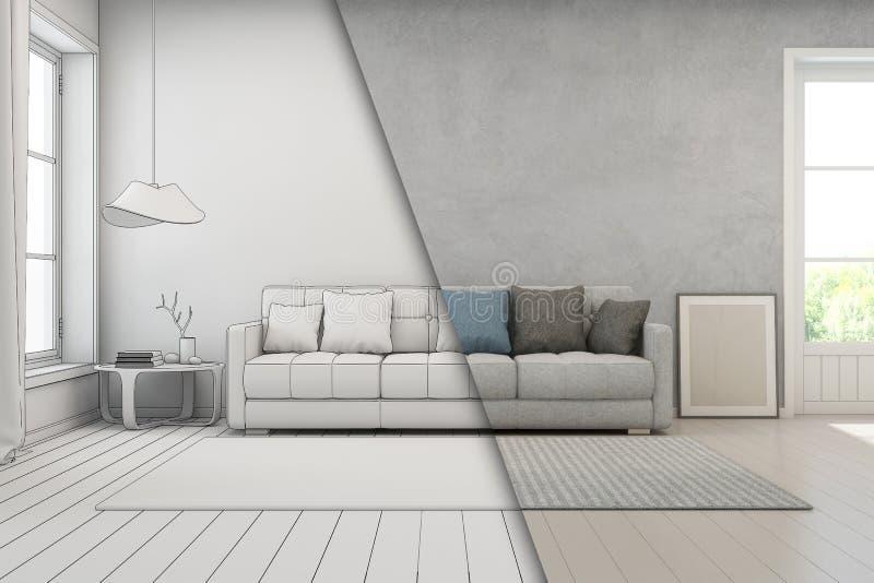 Wohnzimmer mit Betonmauer im modernen Haus, Skizzendesign des Dachbodeninnenraums stockbild