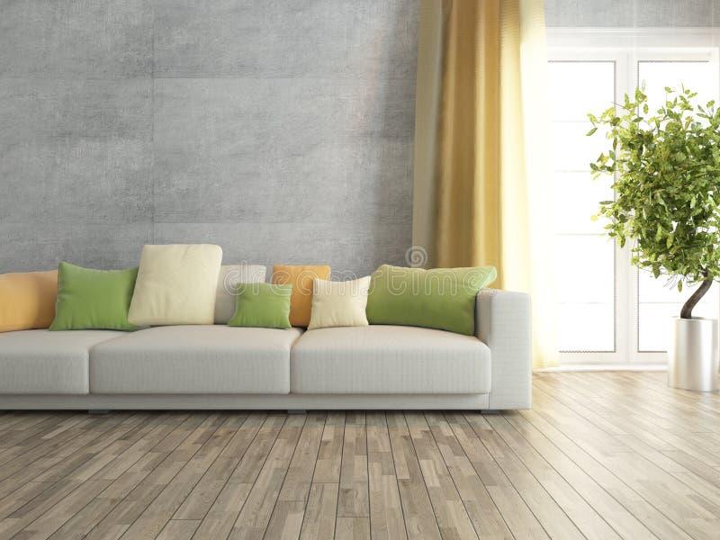 Wohnzimmer mit betonmauer wiedergabe stock abbildung illustration