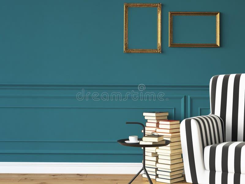 Wohnzimmer mit einem Lehnsessel und Büchern, 3d stockbild