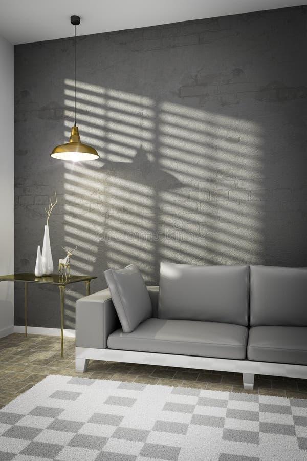 Wohnzimmer mit einem Sofa und einem Sonnenlicht auf der Wand vektor abbildung
