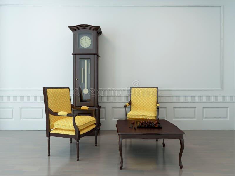 Wohnzimmer mit einer Pendeluhr und -Couchtisch vektor abbildung
