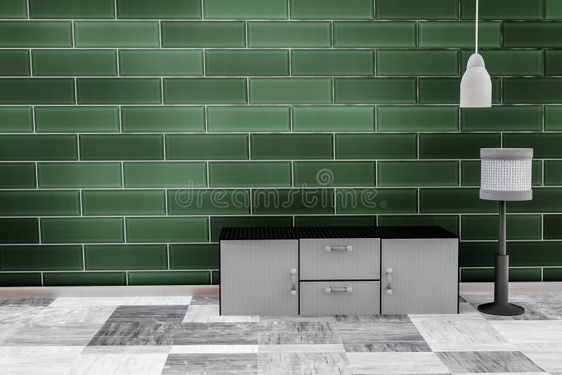 Wohnzimmer mit grünem Backsteinmauersmaragdhintergrund lizenzfreie abbildung