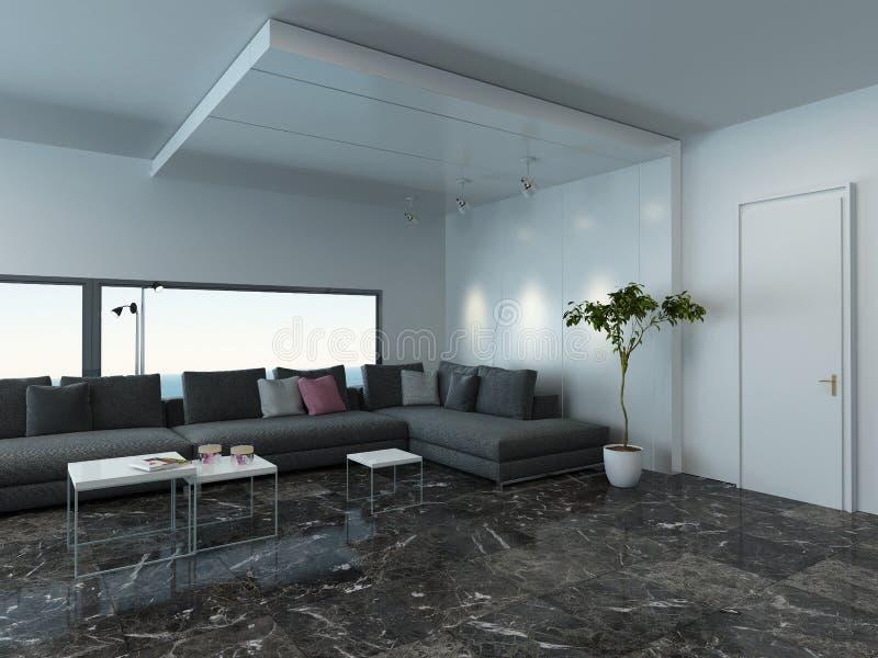 Wohnzimmer Mit Grauem Couch- Und Marmorboden Stockfoto - Bild Von
