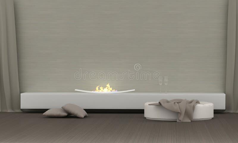 Wohnzimmer mit Kamin lizenzfreie stockfotografie