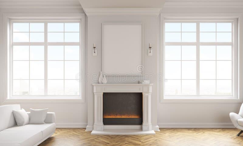 Wohnzimmer mit Kamin stock abbildung