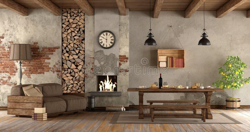 Wohnzimmer mit Kamin in der rustikalen Art lizenzfreie abbildung