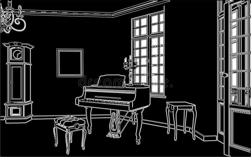 Wohnzimmer mit Klavier-Vektor 02 vektor abbildung